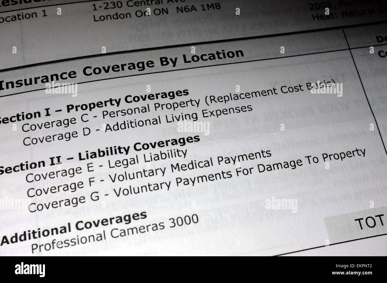 Property and Liability Coverages on an insurance document. - Stock Image