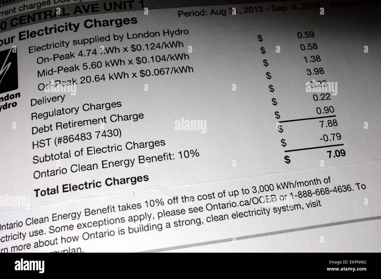 Electricity charges paperwork. Stock Photo
