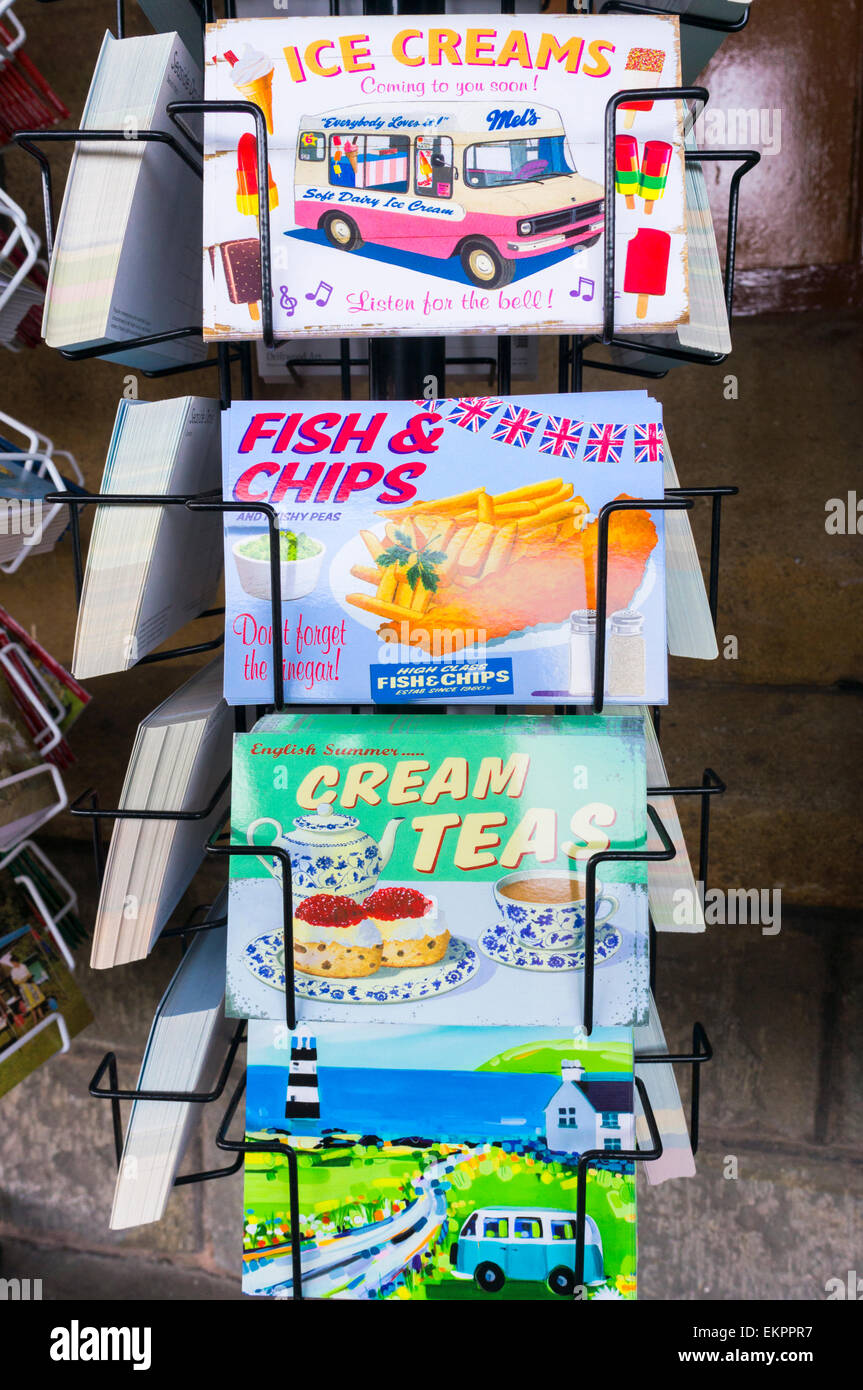 Postcards on sale at the seaside, England, UK - Stock Image