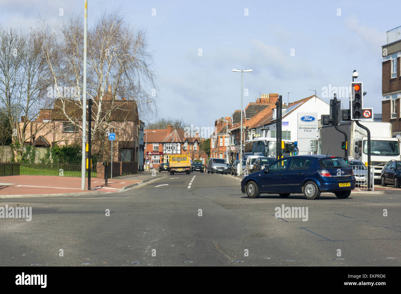 Crossroads road junction in a town centre, England, UK - Stock Image