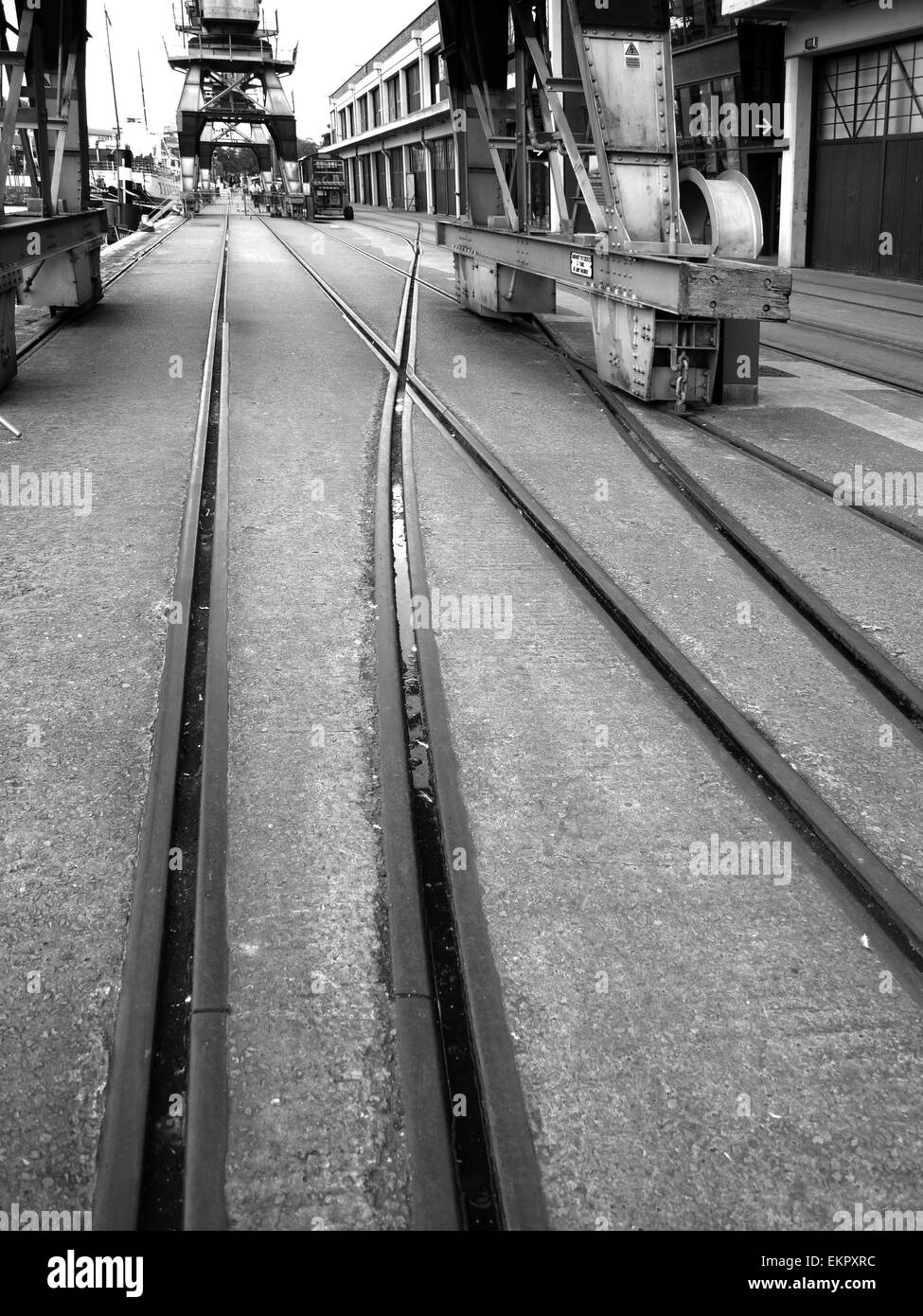 Dockside at Bristol. Disused and maintained as museum. - Stock Image