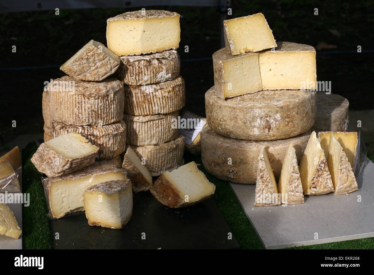 Speciality cheese stall at Farmers Market - Stock Image