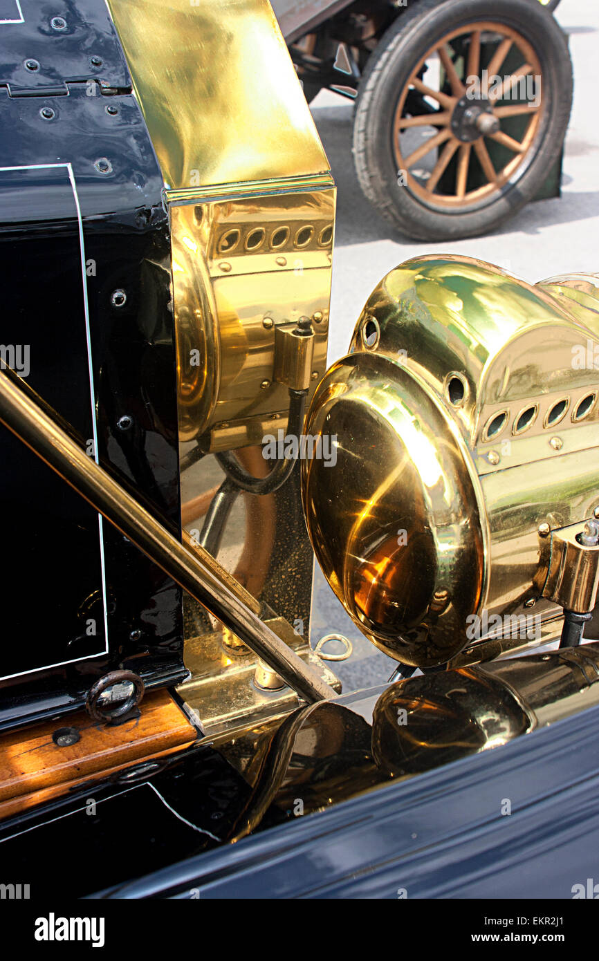 Deatail showing radiator and headlamp of a 1911 Model T Ford at Brooklands, Weybridge Surrey - Stock Image