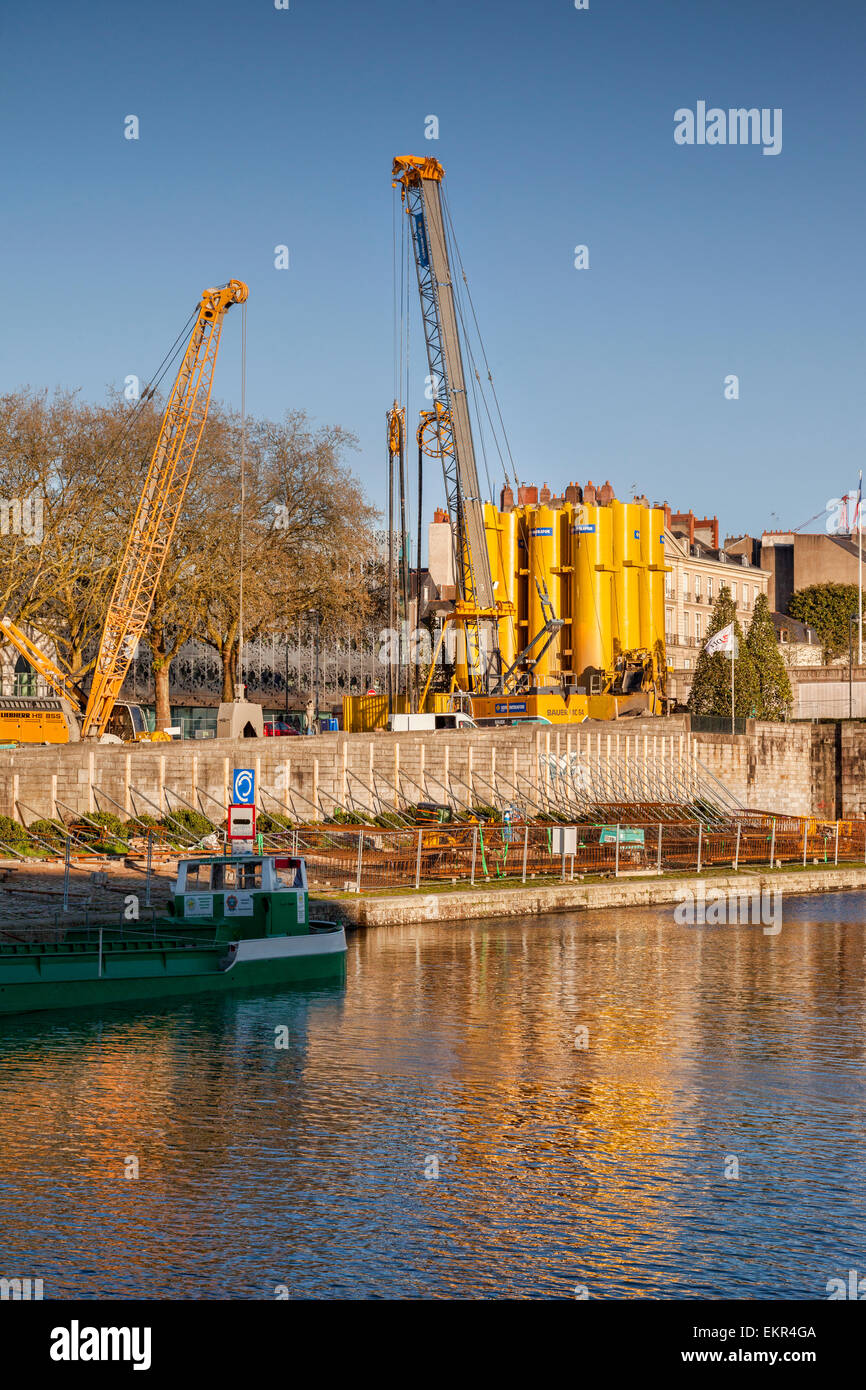 Mobile cement silos at a construction site in Nantes, Loire Atlantique, France. - Stock Image