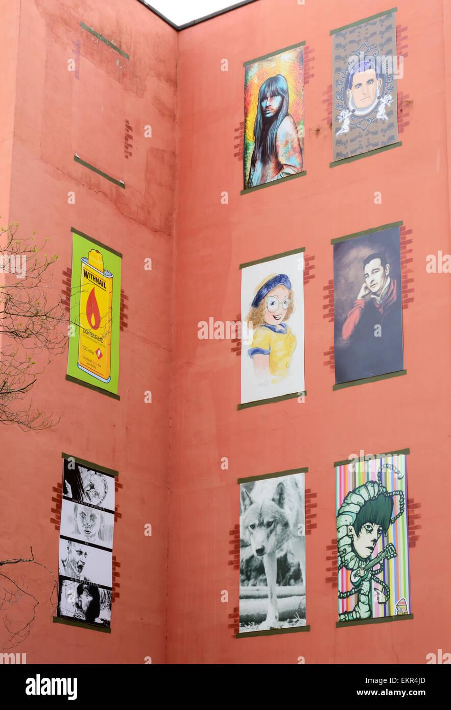 Art installation in the creative quarter of Nottingham -Lace market area. Featuring Brian Clough, Sue Pollard, & - Stock Image