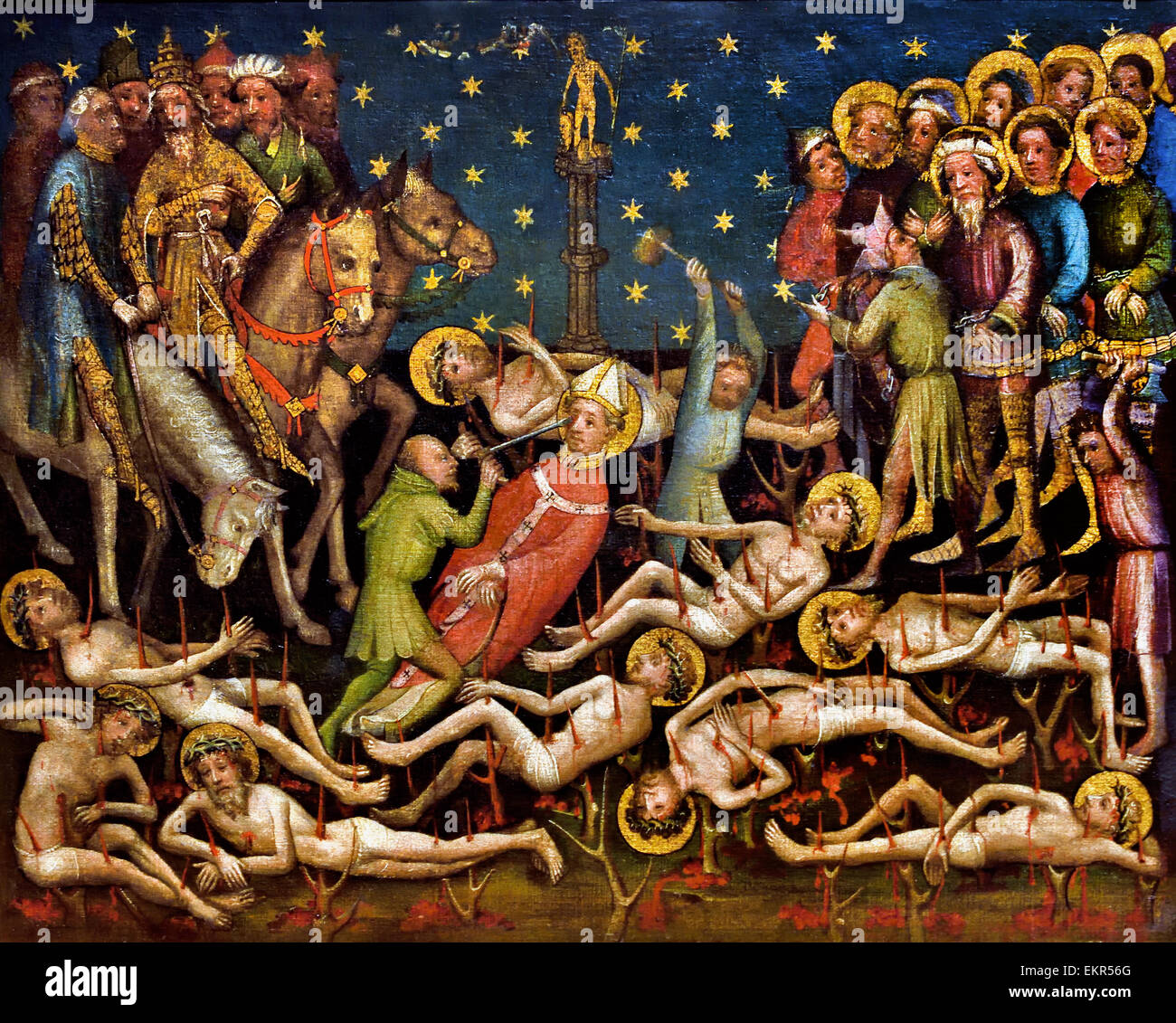 Martyrdom of the Ten Thousend Christians 1410 Meister ( Master ) Der Kleinen Passion Cologne 1400-1420 German Germany - Stock Image