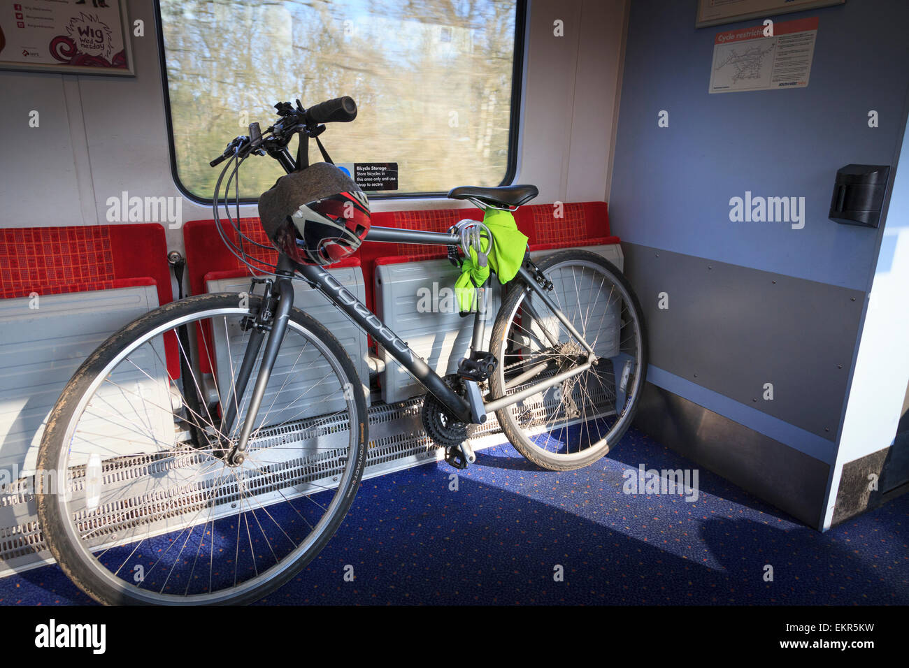 Mountain bicycle in UK train railway carriage without people Stock Photo