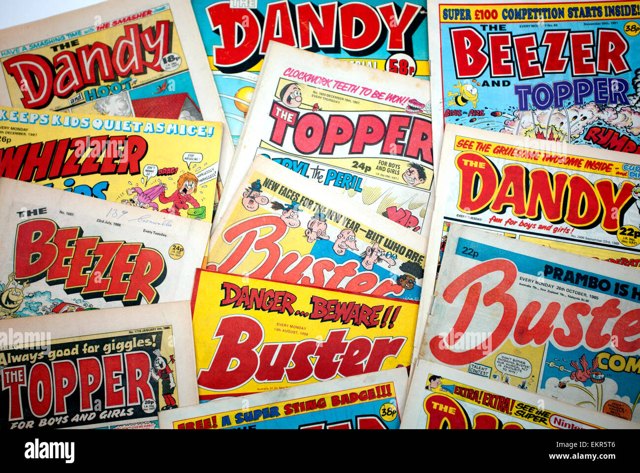 Assorted children's comics from the 1980s, London - Stock Image