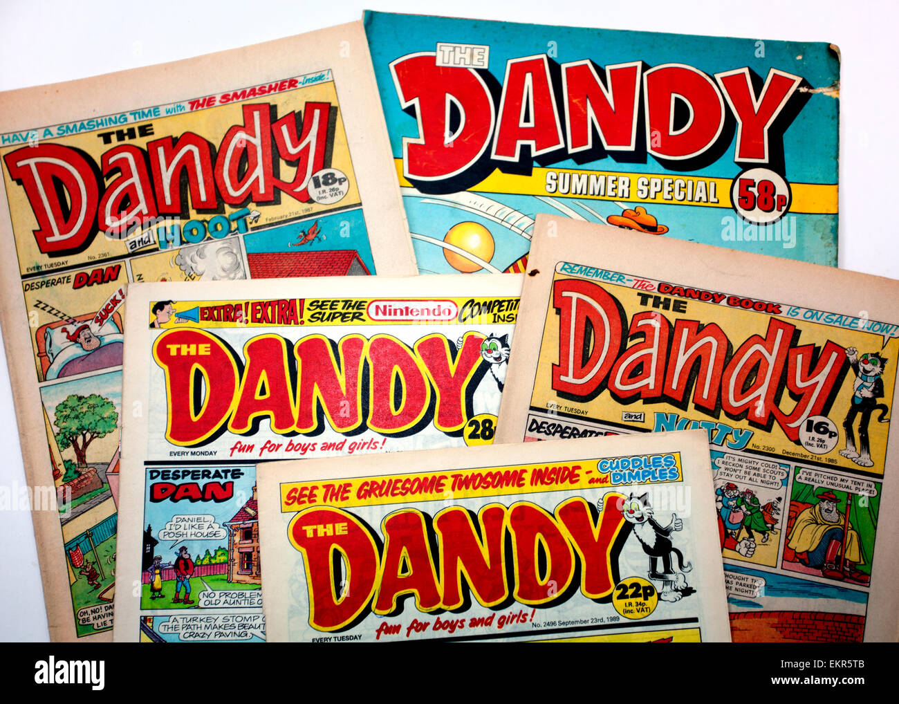 Copies of The Dandy comic from the 1980s, London - Stock Image