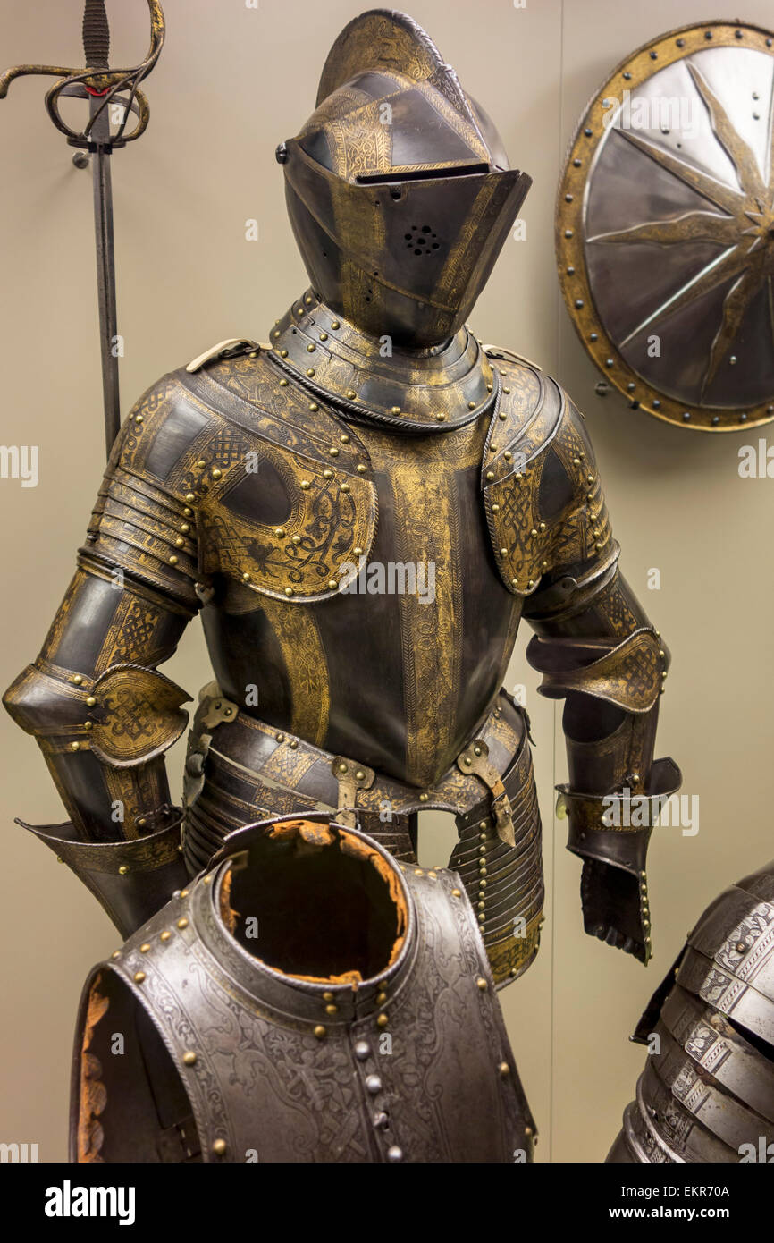 16th century browned and gilded medieval suit of armour with