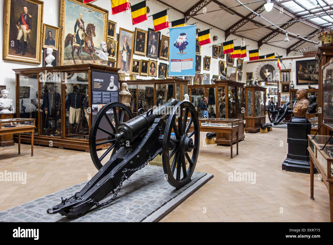 19th century cannons, weapons and uniforms at the Royal Museum of the Armed Forces and Military History in Brussels, - Stock Image