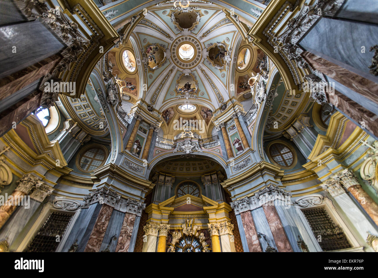 Interior of the Church of Saint Chiara in Bra, a town in the Piedmont region of northern Italy. The style is rococo. - Stock Image