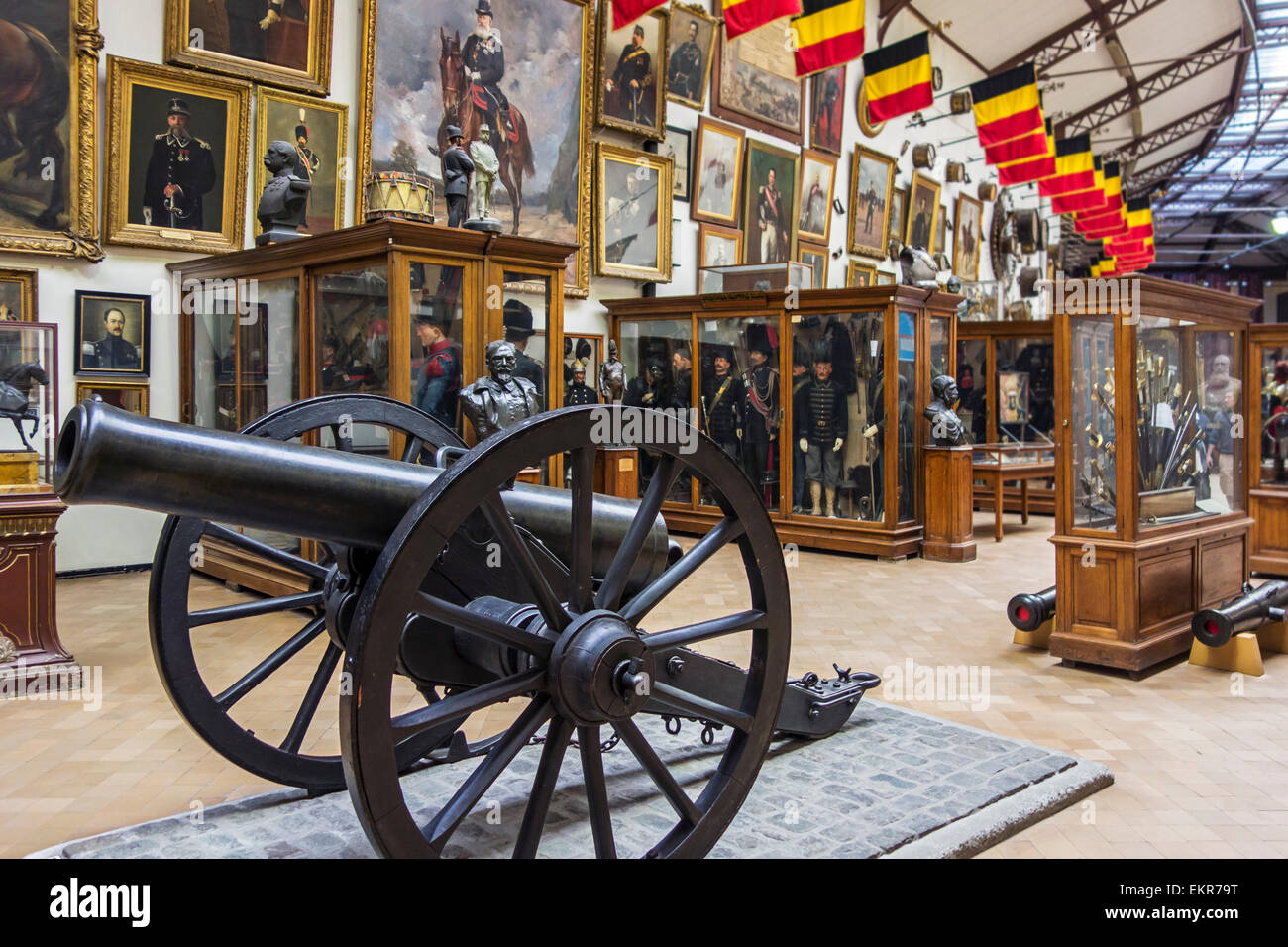 Collection of 19th century cannons, weapons and uniforms, Royal Museum of the Army and of Military History in Brussels, - Stock Image