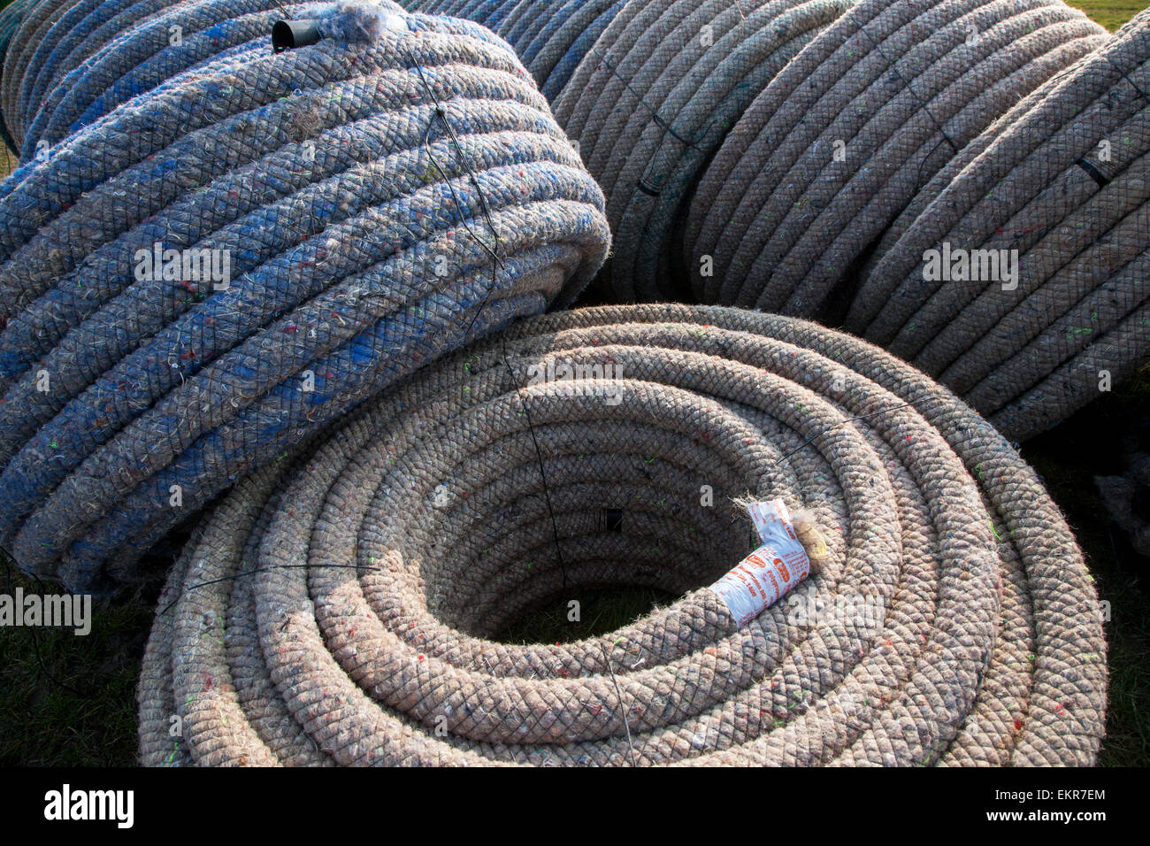 Drainage pipes for drainage trencher / tile plow - Stock Image