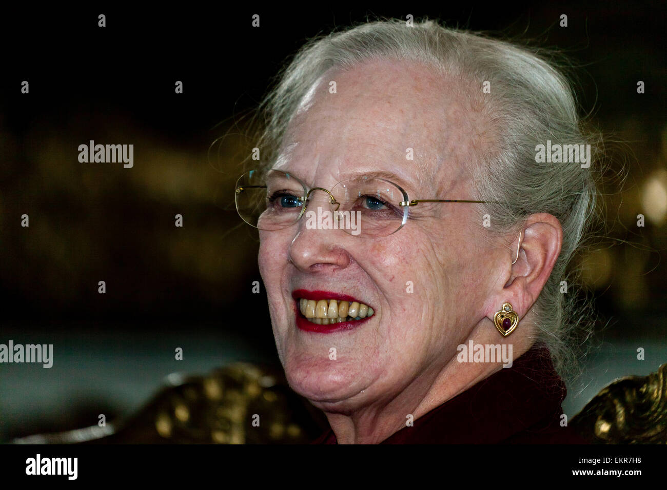 Fredensborg, Denmark. 13th April, 2015. Queen of Denmark,  Margrethe the 2nd, holds a press conference prior to - Stock Image