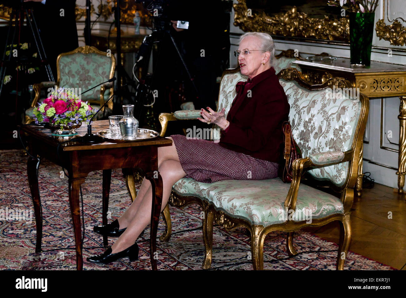 Fredensborg, Denmark. 13th April, 2015. H.M. Queen Margrethe of Denmark, holds a press conference prior to her seventy - Stock Image