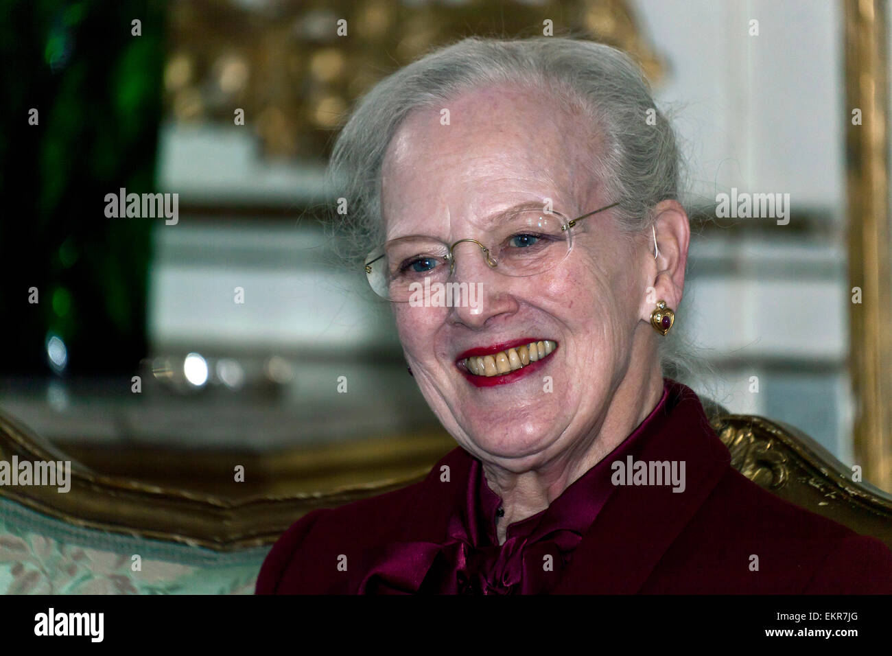Fredensborg, Denmark. 13th April, 2015. H.M. Queen Margrethe of Denmark pictured at the press conference the Queen - Stock Image