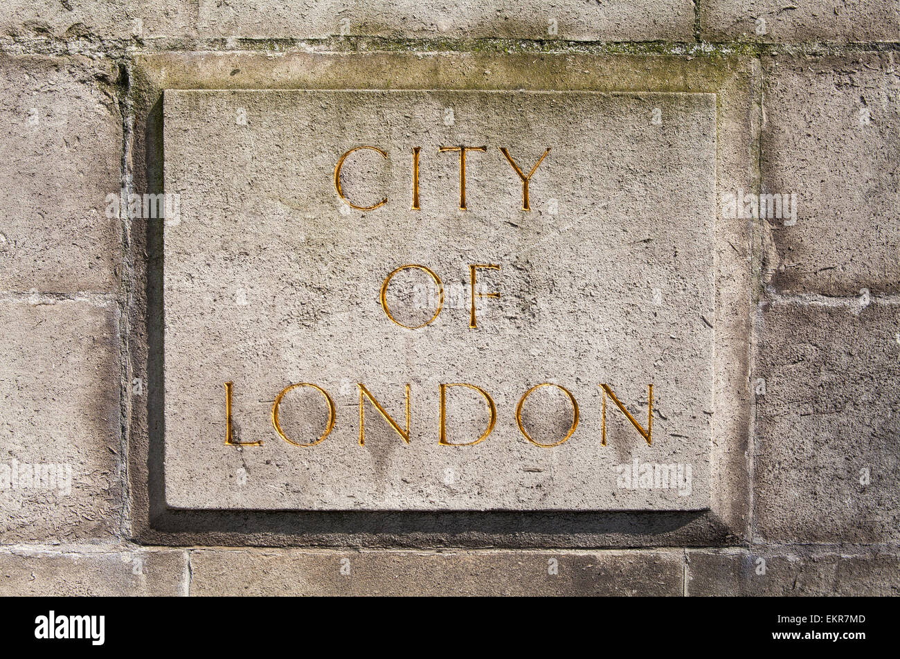 An engraved City of London stone plaque. - Stock Image