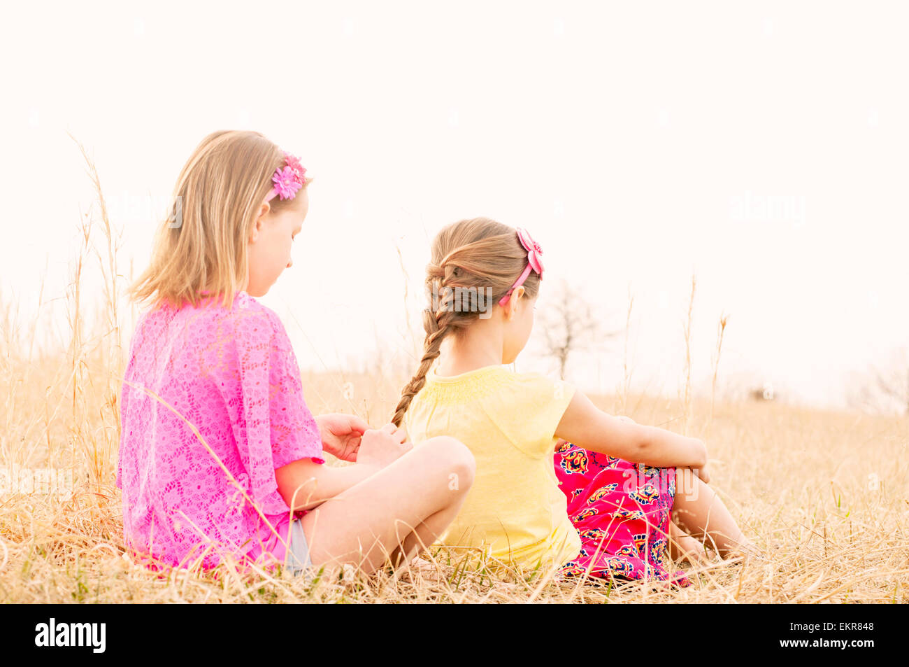 Girls braiding hair in meadow - Stock Image