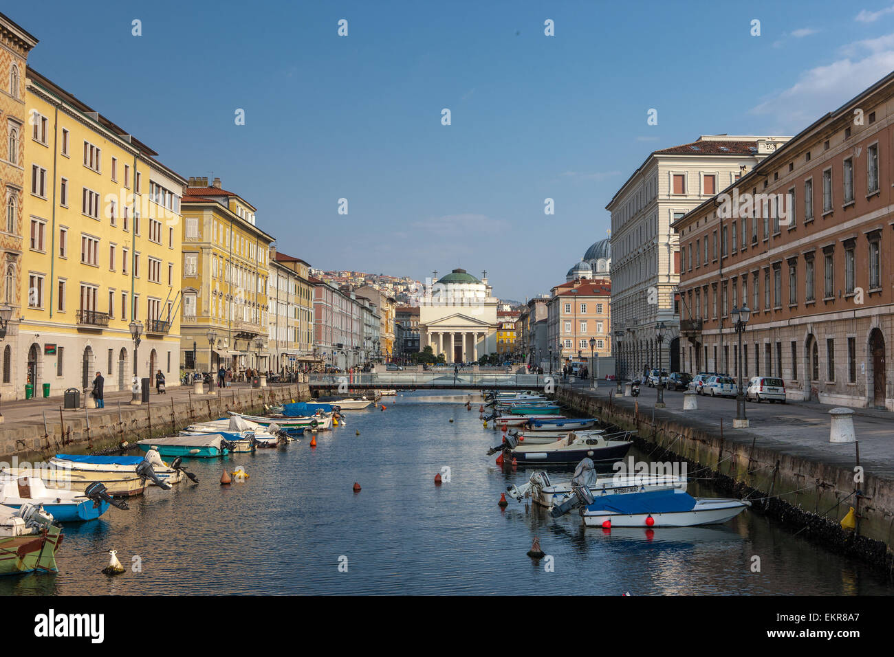 The so-called 'Grande Canale' in Trieste, a city in the northeast of Italy on the Adriatic Sea. - Stock Image