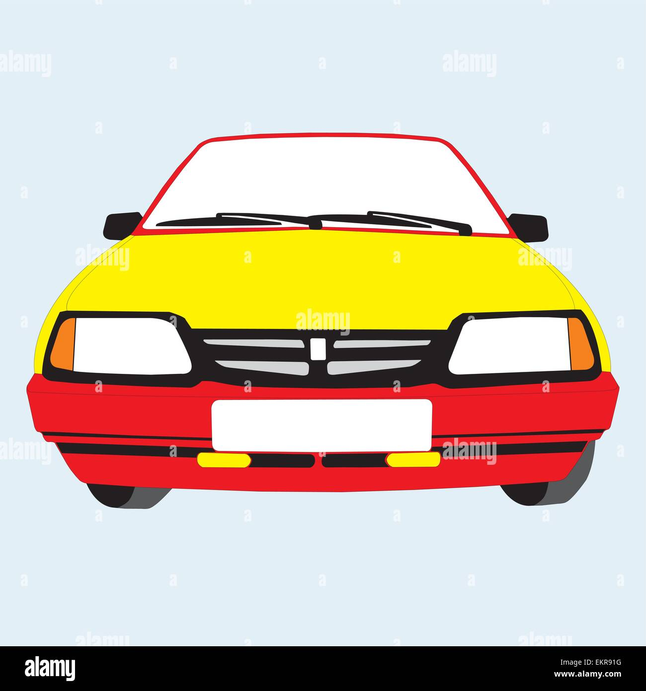 Colour Drawing The Representing Car Standing Stock Vector Art