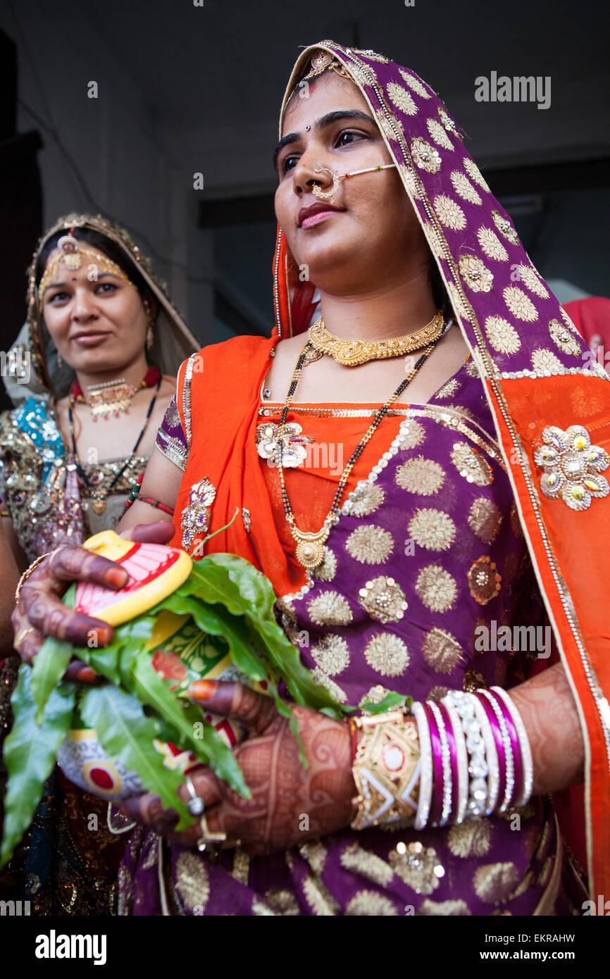 Rajasthani tribal women in Kekri - Stock Image