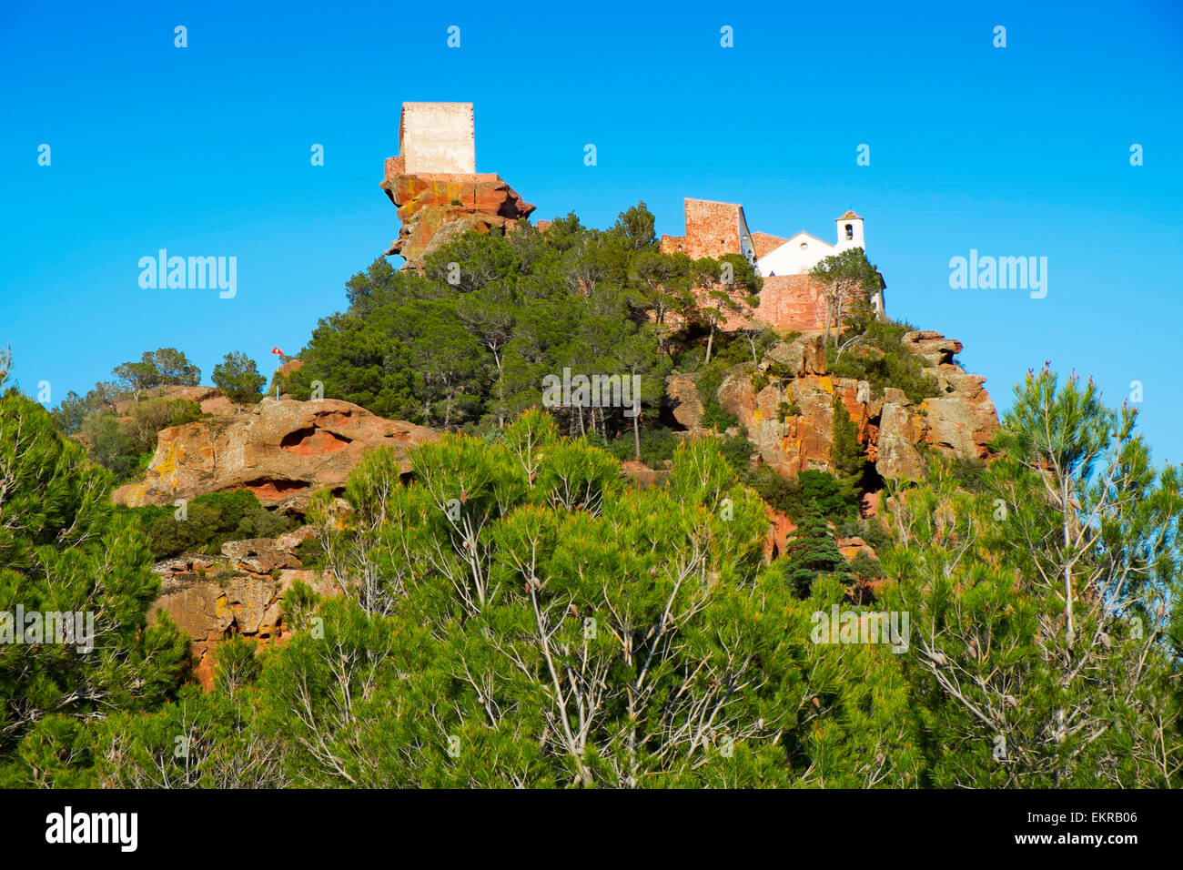 view of the Shrine of Mare de Deu de la Roca, in the top of a hill, in Mont-roig del Camp, Catalonia, Spain - Stock Image