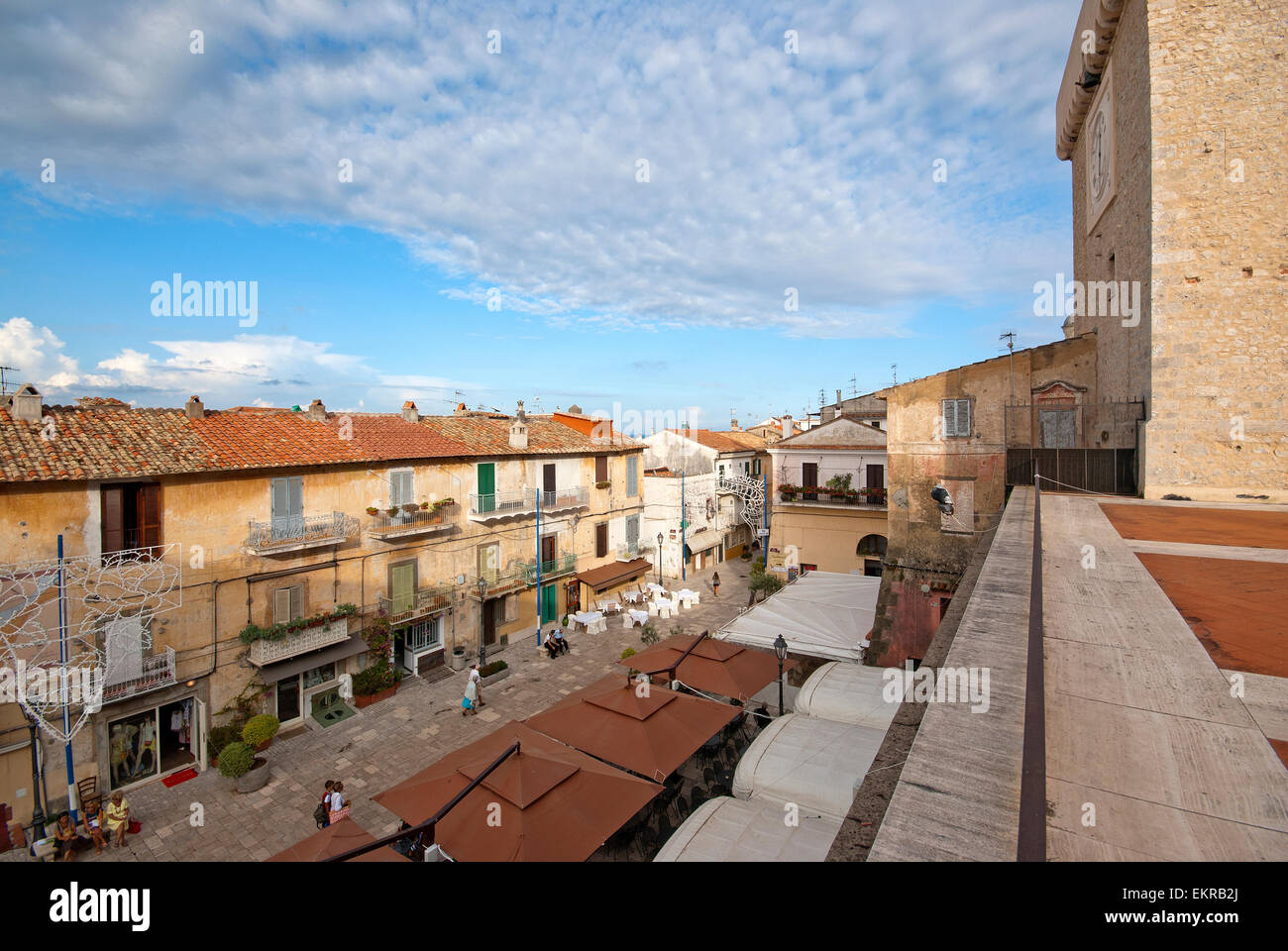 San Felice Circeo, view of the old town centre (on the right the Tower of Templar Knights), Lazio, Italy - Stock Image