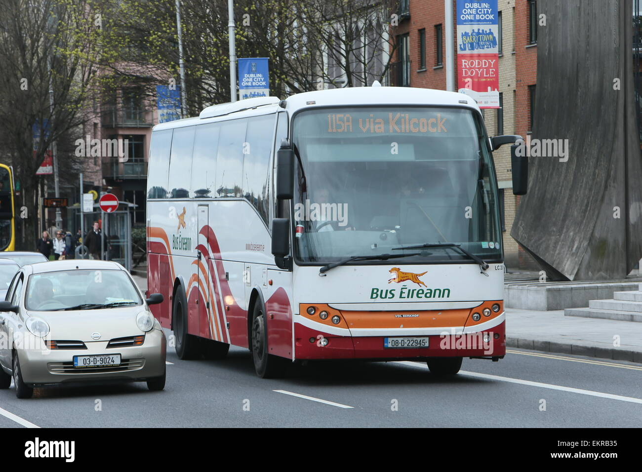 Image of a Bus Eireann vehicle on a street in Dublin city centre  A