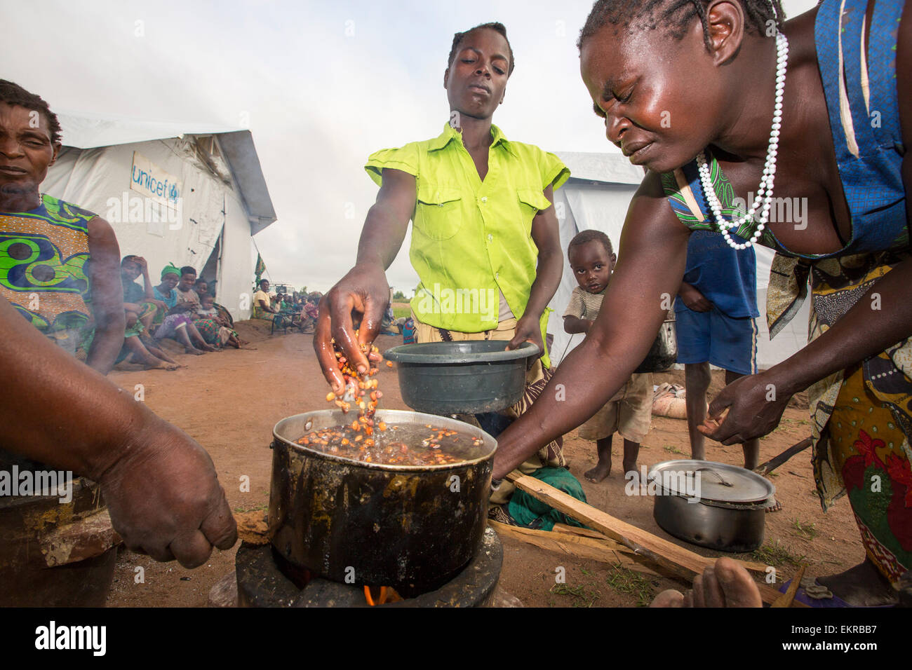 In mid January 2015, a three day period of excessive rain brought unprecedneted floods to the small poor African - Stock Image