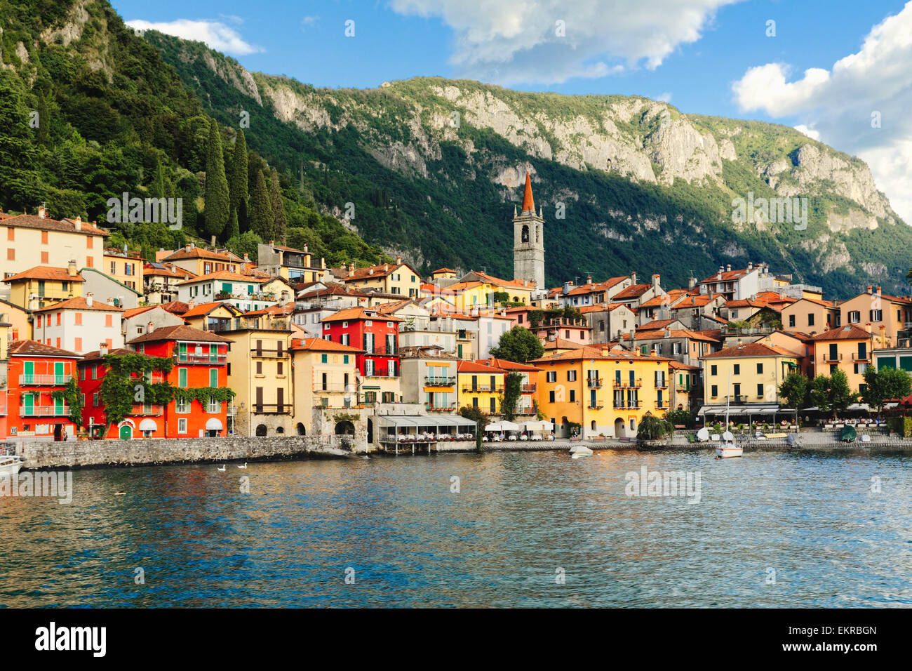 Low Angle View of a Small Town on a Lake, Varenna, Lake Como, Lombardy, Italy - Stock Image