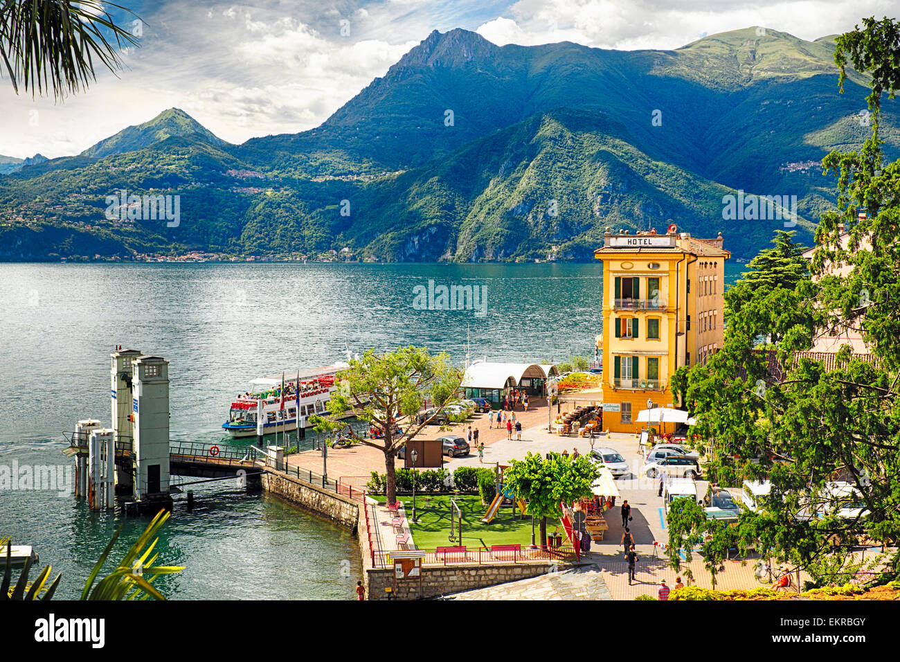High Angle View of the Varenna Harbor on Lake Como, Lombardy, Italy - Stock Image