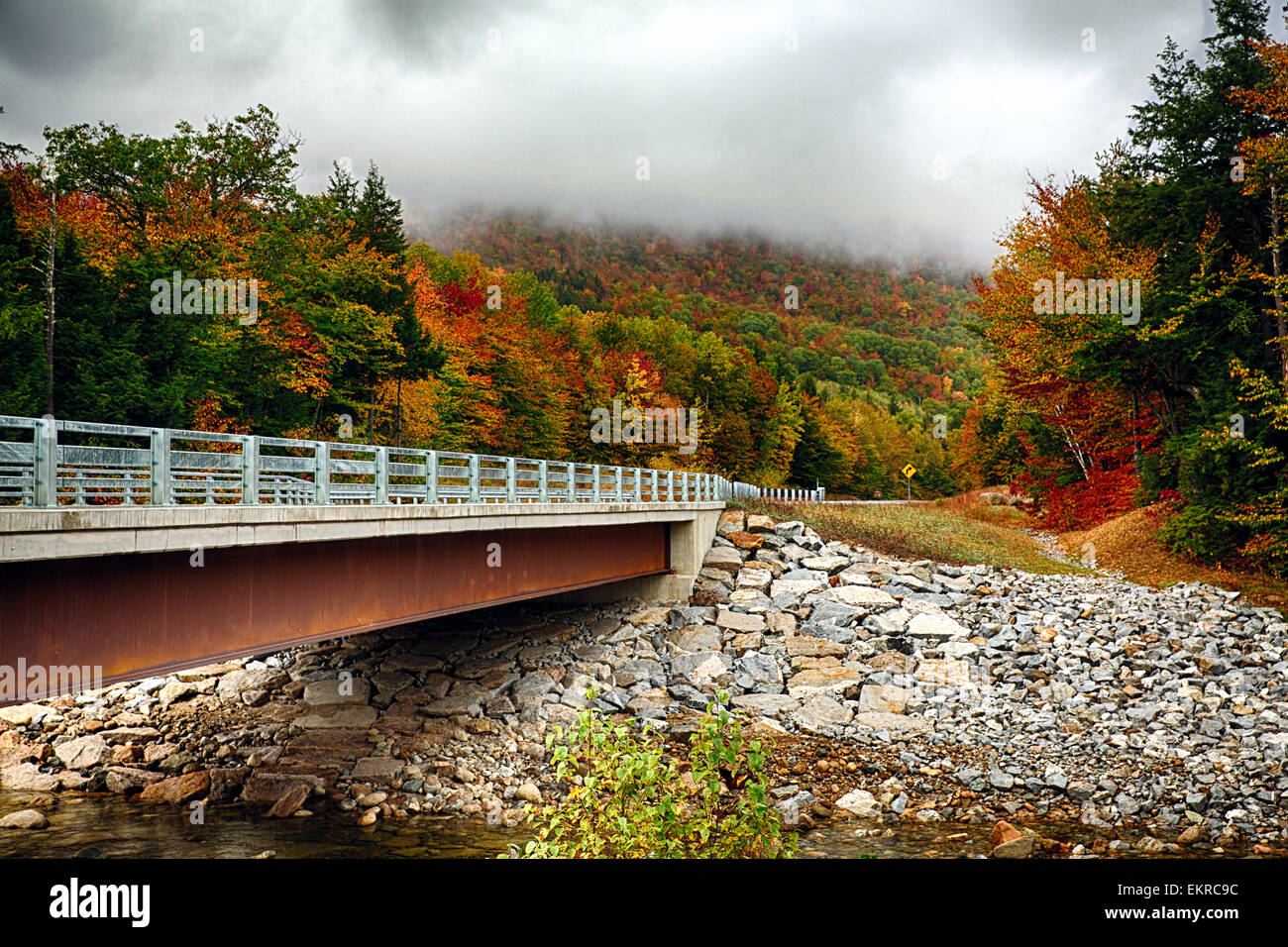 View of Bridge over the Sawyer River with Fall Foliage, Crawford Notch Road, White Mountains National Forest, New Stock Photo