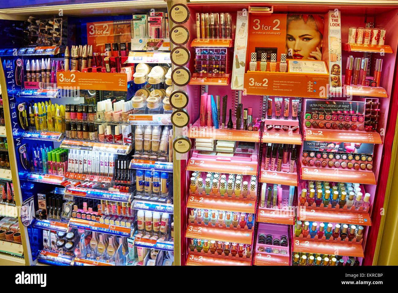 Make Up And Nail Varnish Counter At Boots Birmingham Airport UK - Stock Image