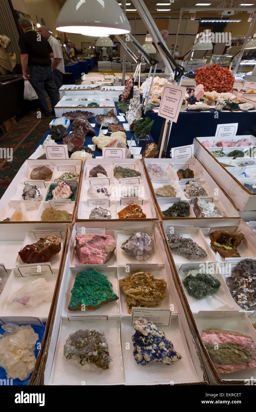 Rocks and minerals for sale, Tucson Gem and Mineral Show, Tucson, Arizona - Stock Image