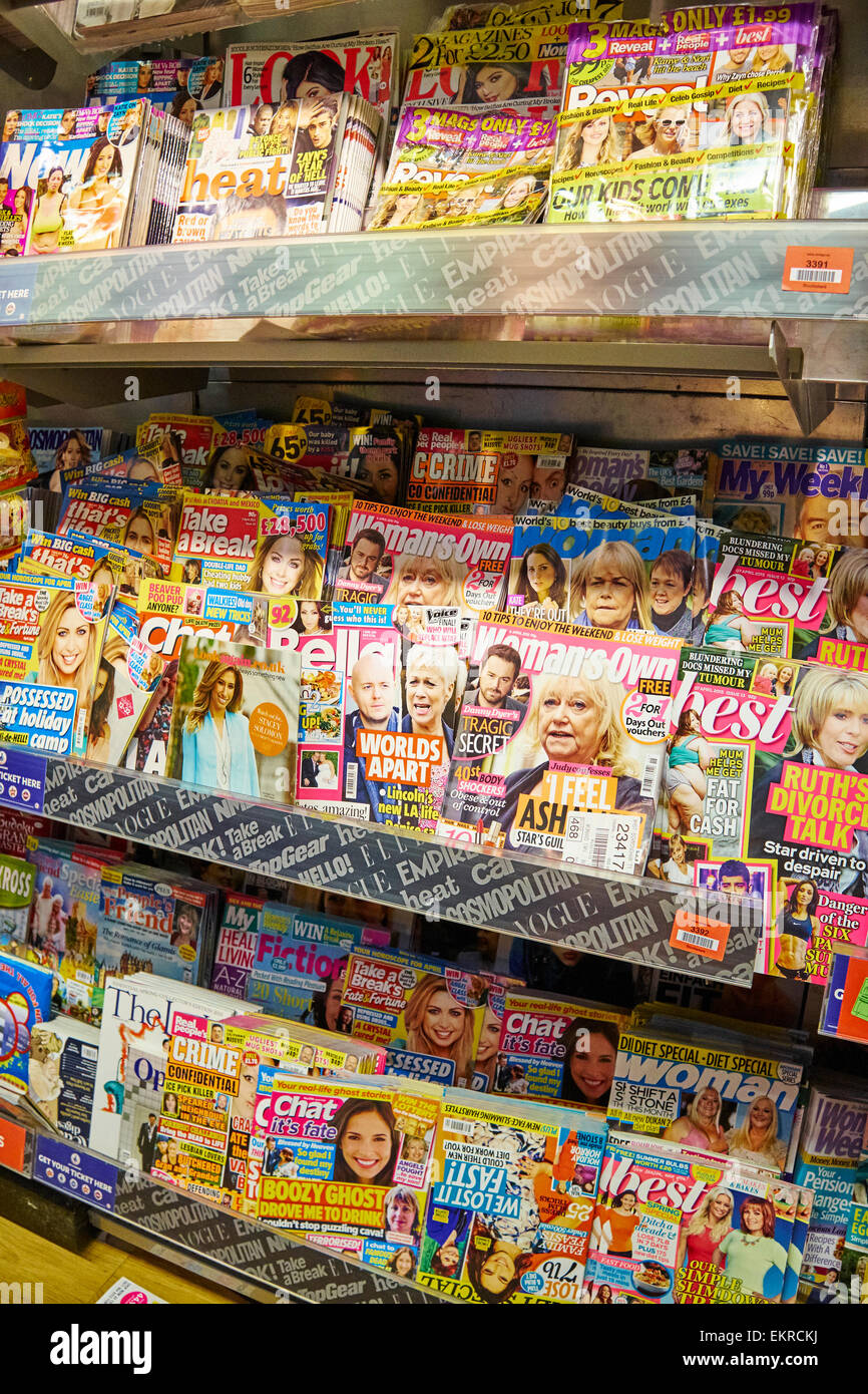 Magazines On Sales Display At WH Smith Birmingham Airport UK - Stock Image