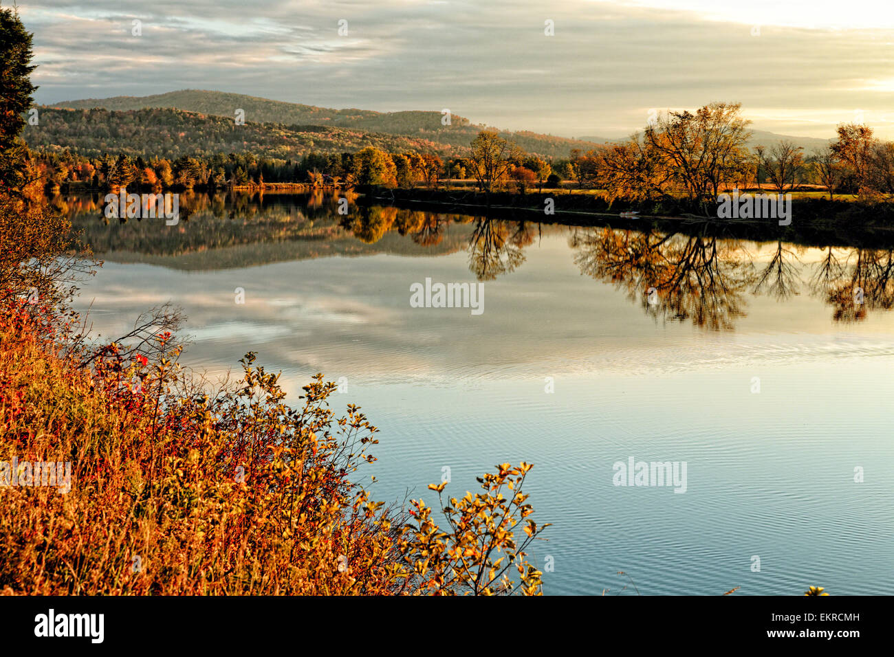 View of a Tranquil River with Colorful Foliage Reflections, Moore Reservoir, Connecticut River, New Hampshire - Stock Image