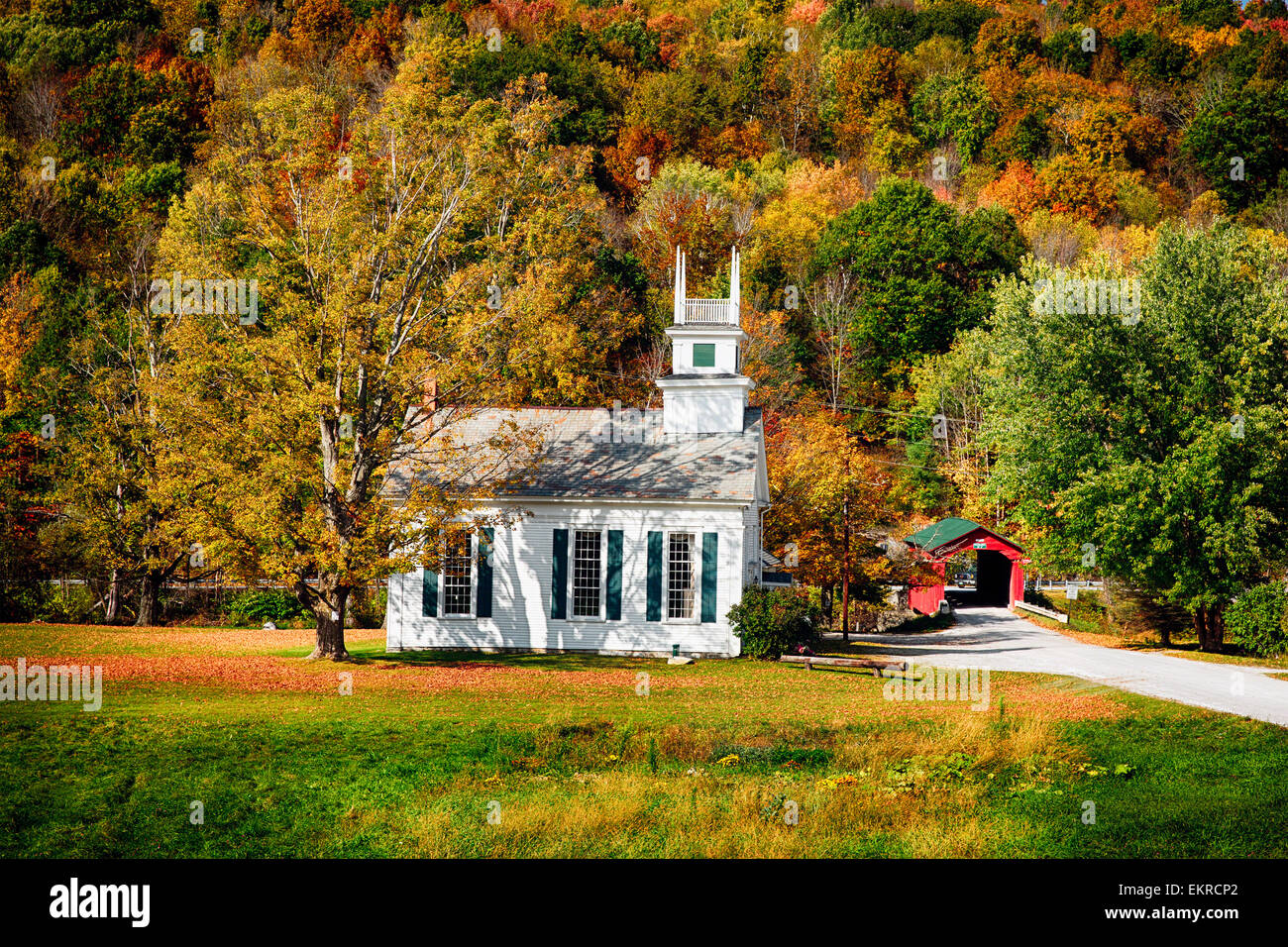 High Angle View of a Small Church and a Covered Bridge on the Village Green, Arlington, Vermont - Stock Image