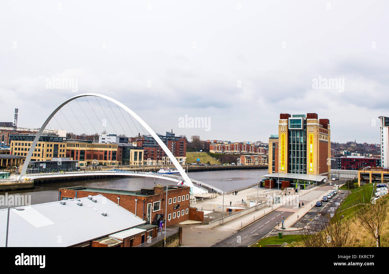 A view over the River Tyne of Baltic Centre for Contemporary Art in old Baltic Mill & extremely contemporary - Stock Image