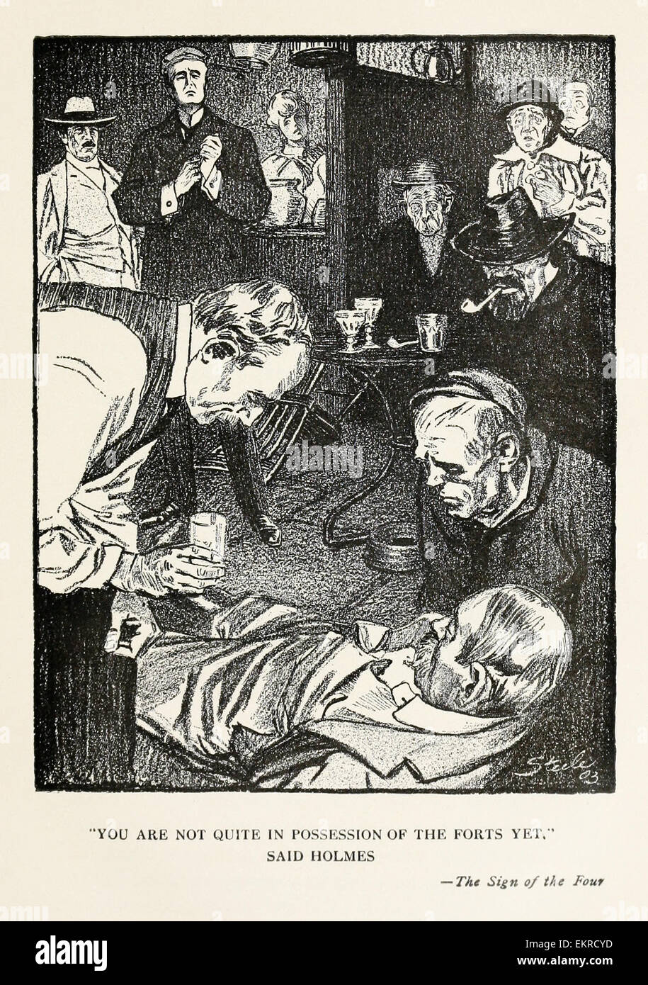 'You are not quite in possession of the forts yet.' Said Holmes - Illustration by Frederic Dorr Steele (1873 - Stock Image