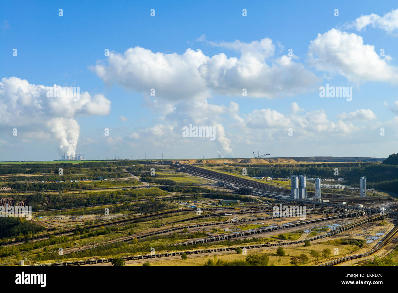 Brown coal opencast mining Garzweiler near Juechen, North Rhine-Westphalia, Germany, Europe - Stock Image
