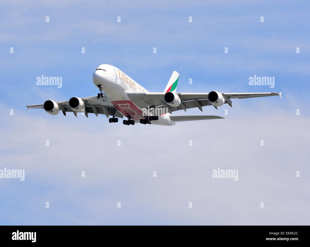 Final Approach! Emirates A-380 - Stock Image
