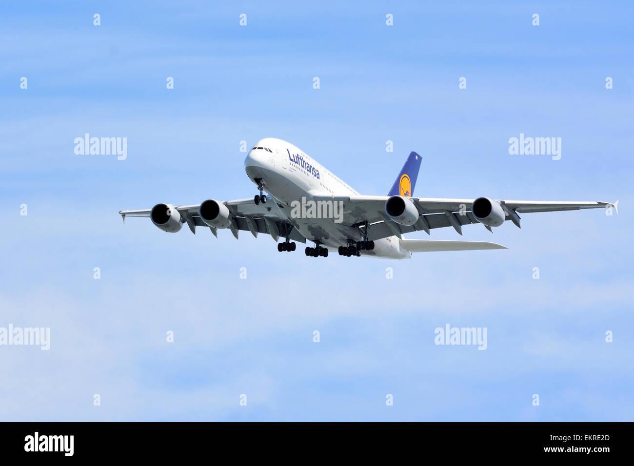 Final Approach! Lufthansa A-380 - Stock Image