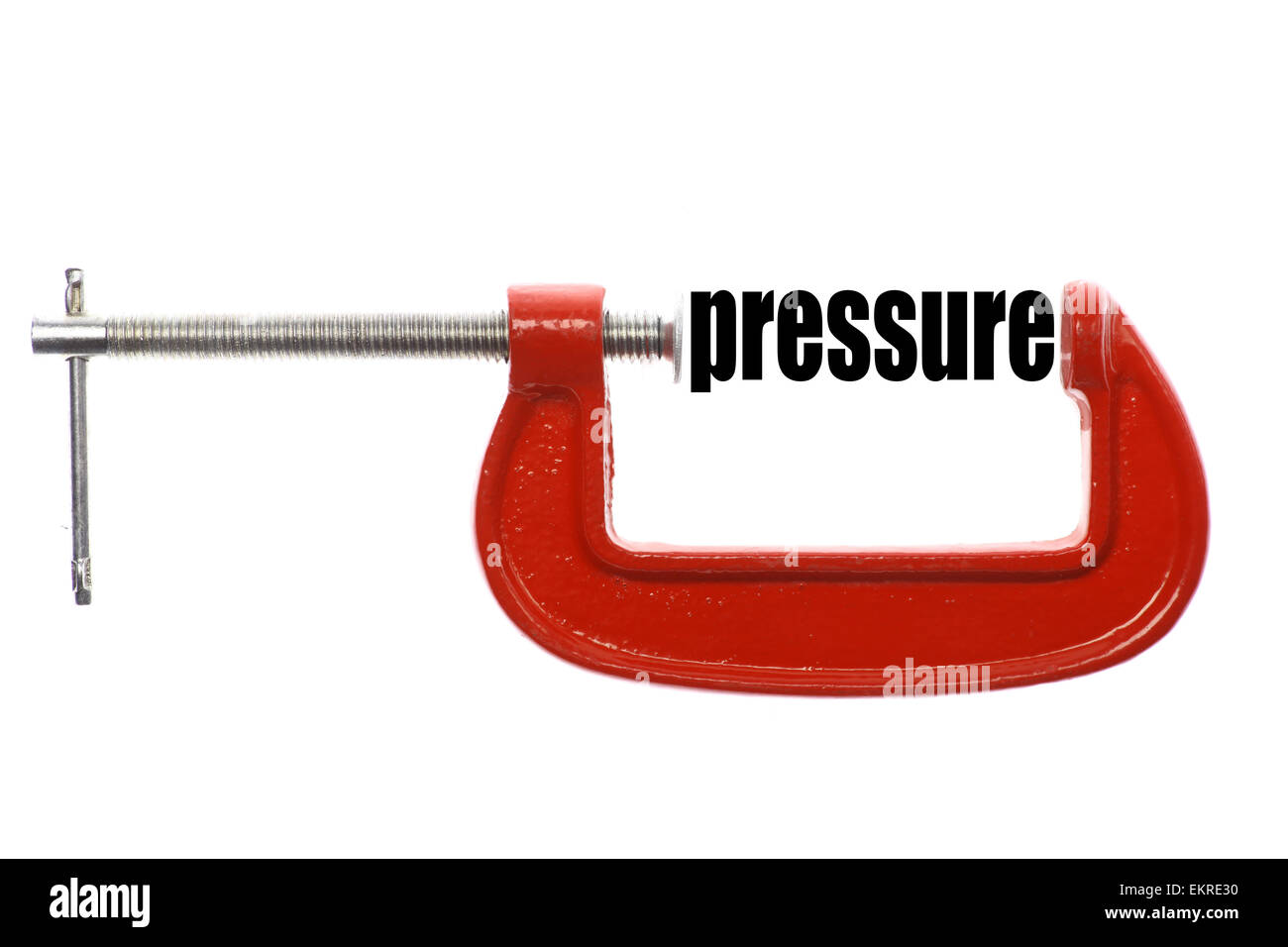 The word 'pressure' is compressed with a vice. - Stock Image