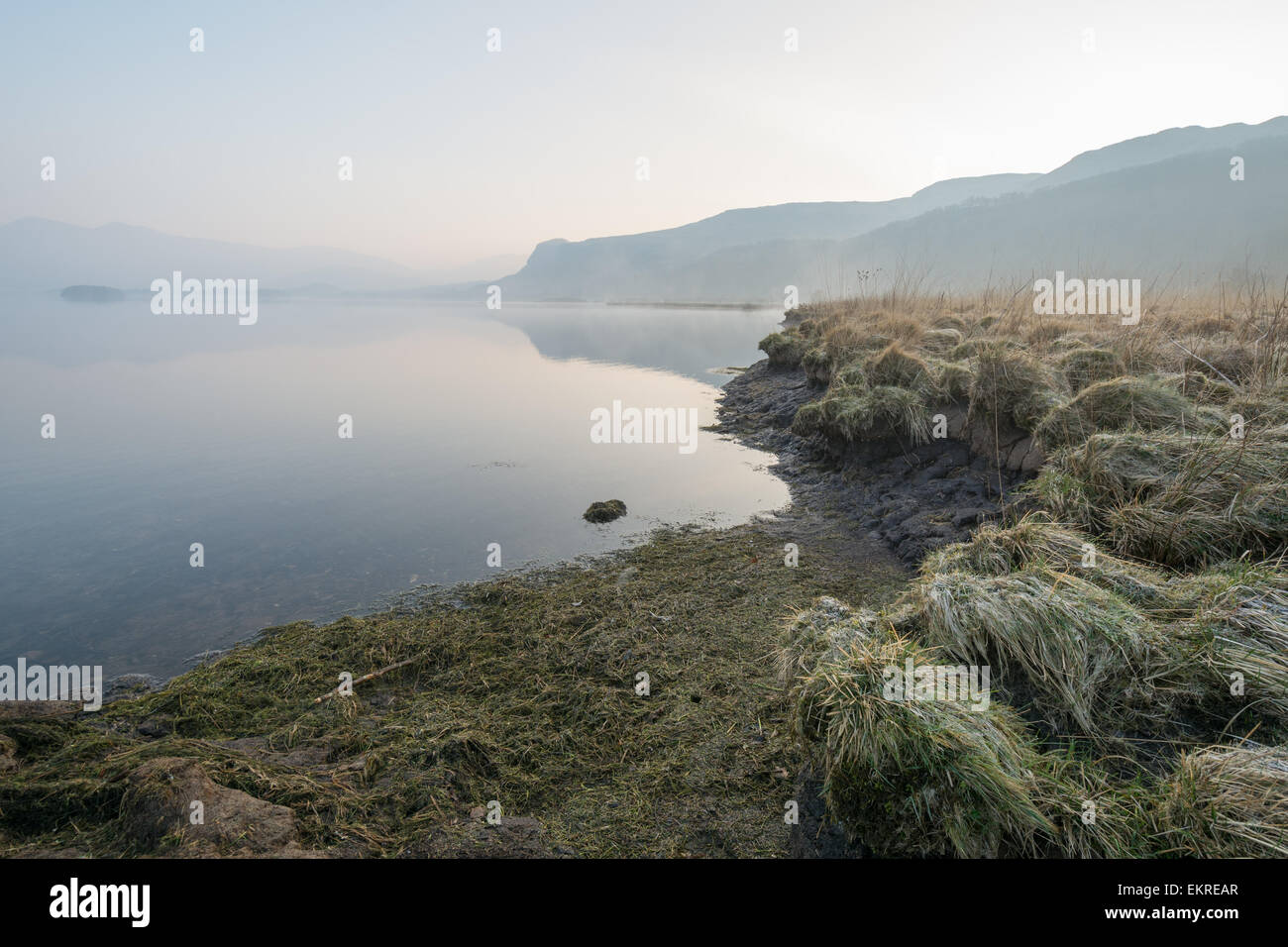 Early morning mist blurs the horizon with peat revealed at the waters edge - Derwentwater in the English Lake District - Stock Image