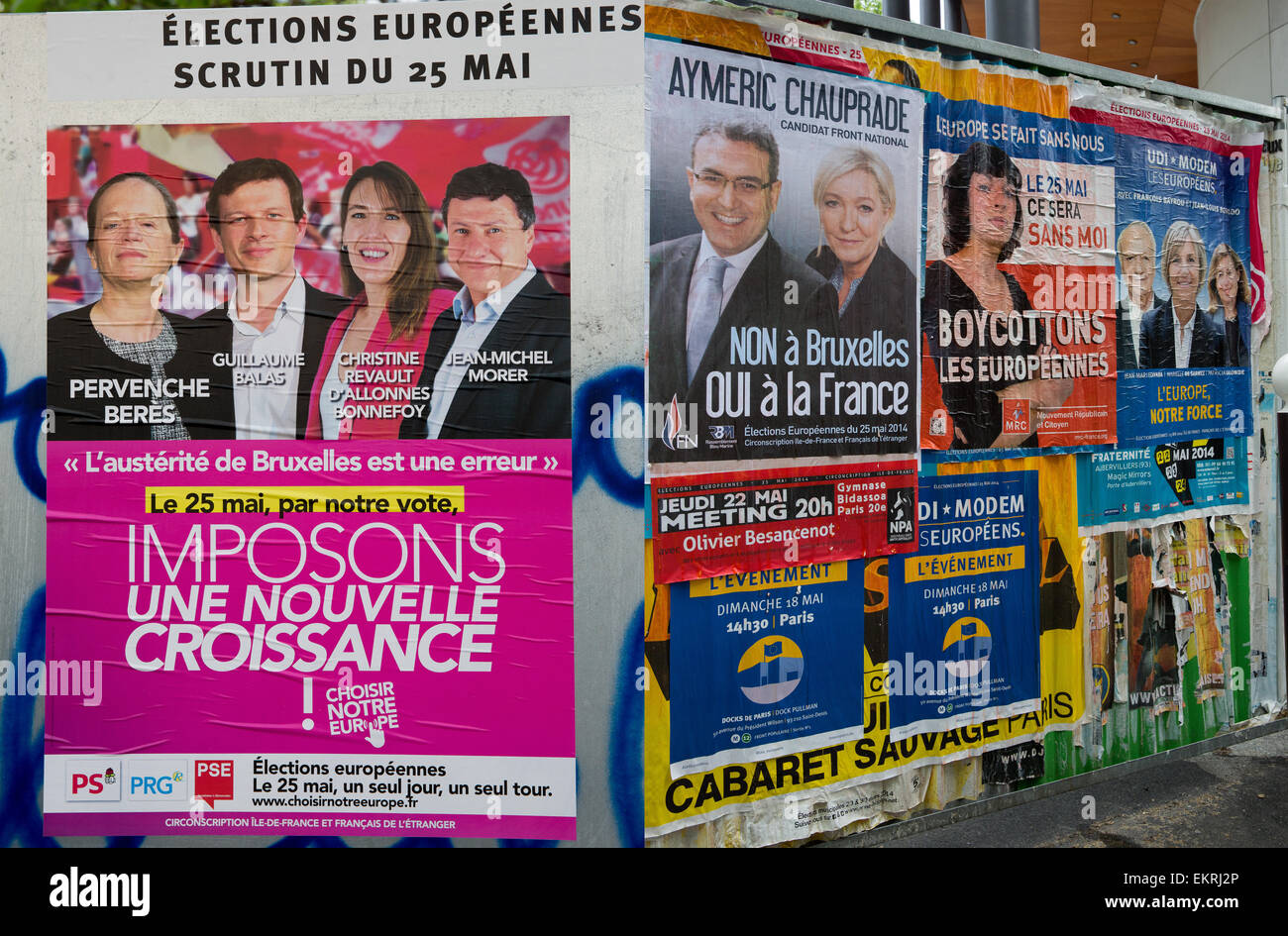 Posters for French candidates running in elections for the European Parliament in Paris, France 2014 - Stock Image