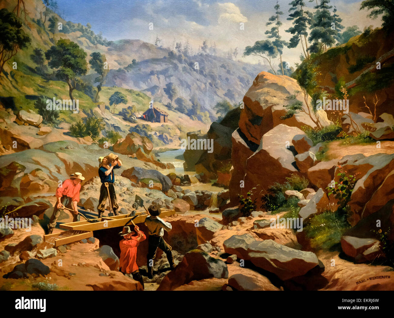 Miners in the Sierras, circa 1852  Charles Christian Nahl - Stock Image