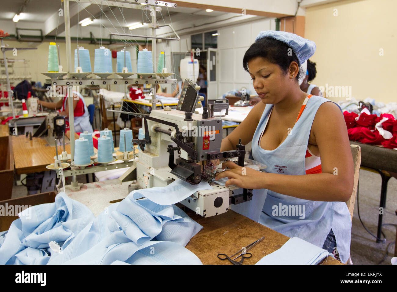 A female worker in a textile factory in Havana,Cuba - Stock Image