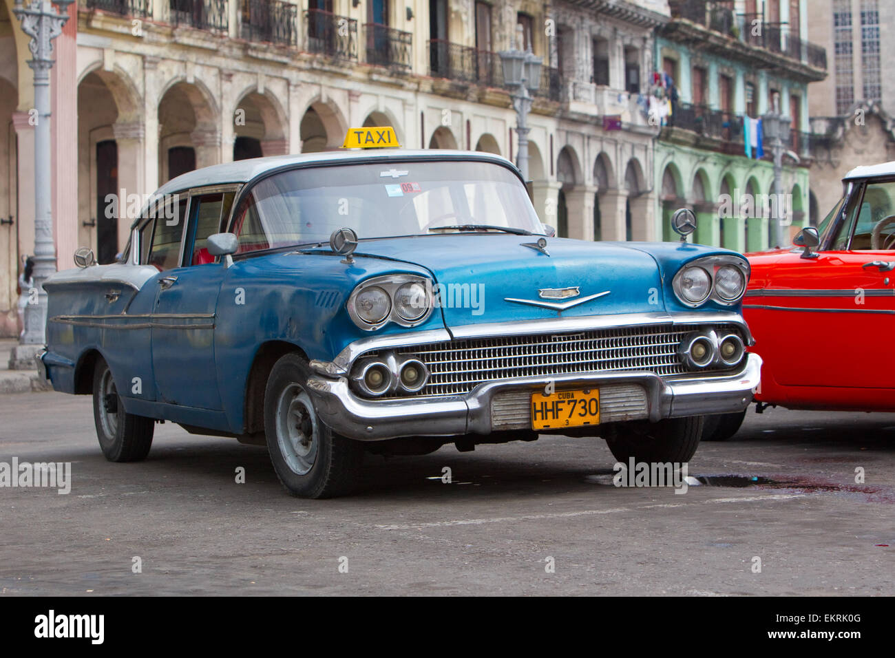 Classic American cars or automobiles from the 1920s and 1930s in Havana Cuba - Stock Image