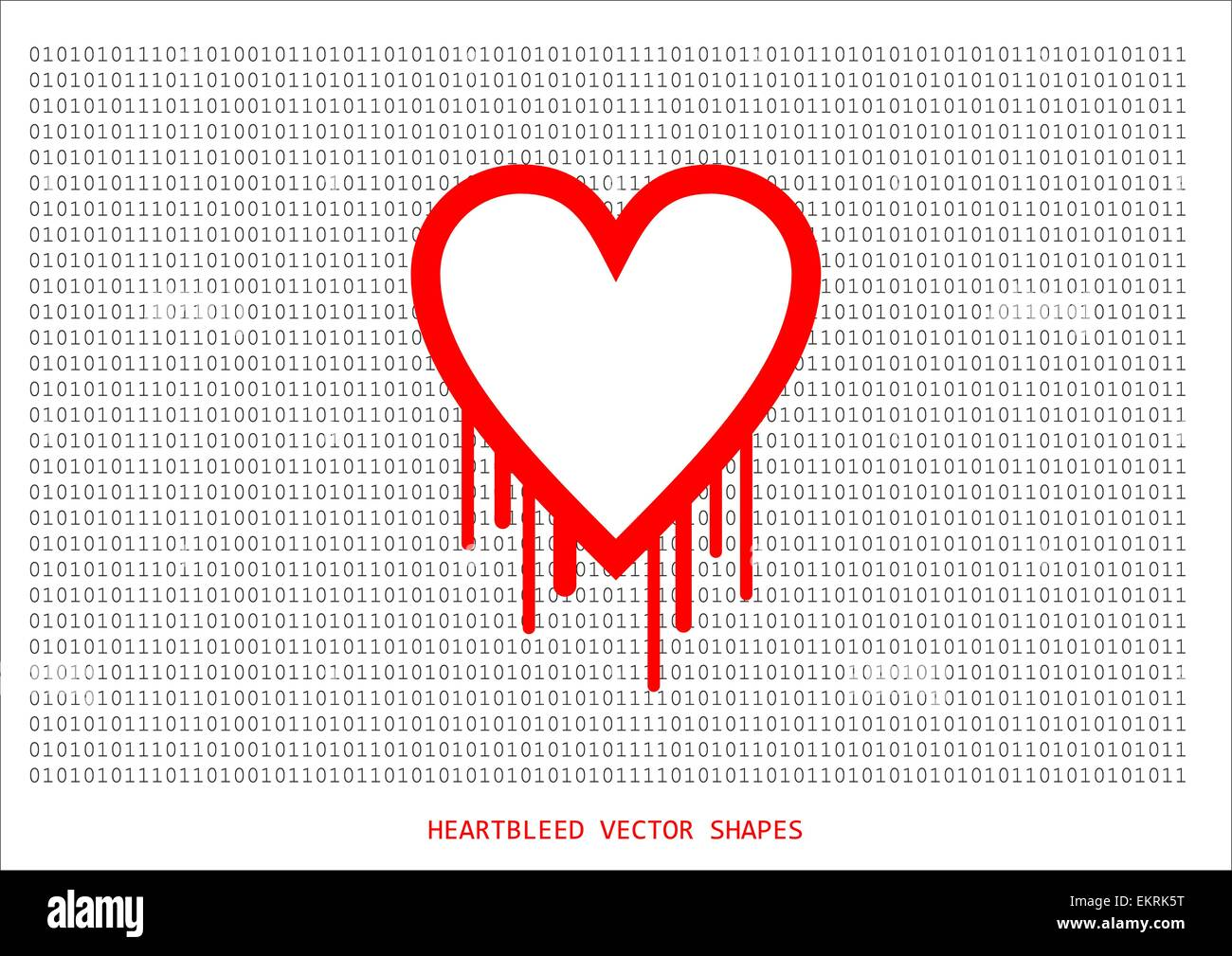 Heartbleed openssl bug vector shape, bleeding heart with wall of text in background - Stock Vector